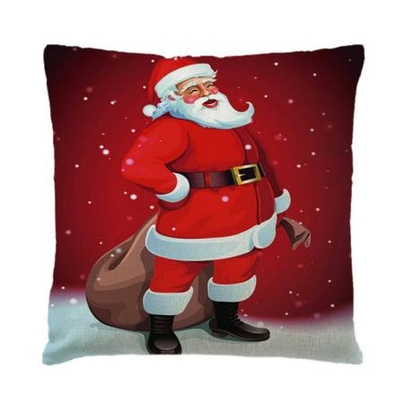 Holiday Time Christmas Cotton Linen Pillow Case Snowman Santa Printing Bed Home Decor Cushion Cover Shell Christmas Decor