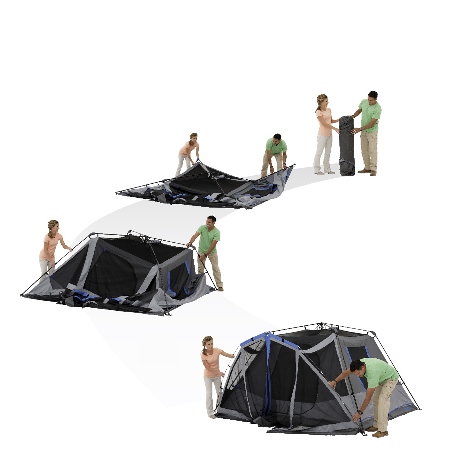 Details about Ozark Trail 6-Person Instant Darkrest Cabin Tent with light
