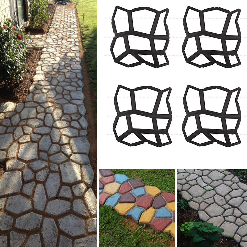 9 Irregular Shape Grids DIY Path Maker Mold Garden Concrete Paving Stepping  Pathmate Stone Mold Walk