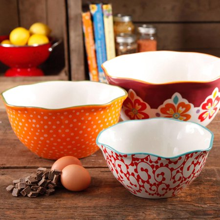 3-Piece Stoneware Market Scalloped Edge Serving Bowl Set, Multicolor, Small bowl: 7.8 x 2.7 By The Pioneer Woman
