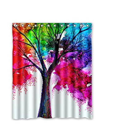 HelloDecor tree turquoise white purple blue Shower Curtain Polyester Fabric Bathroom Decorative Curtain Size 60x72 Inches