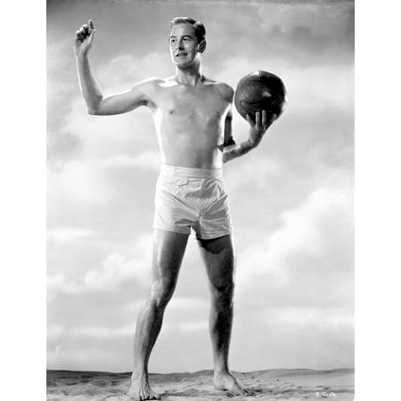 Photo Holding Ball - Don Taylor holding a ball Photo Print