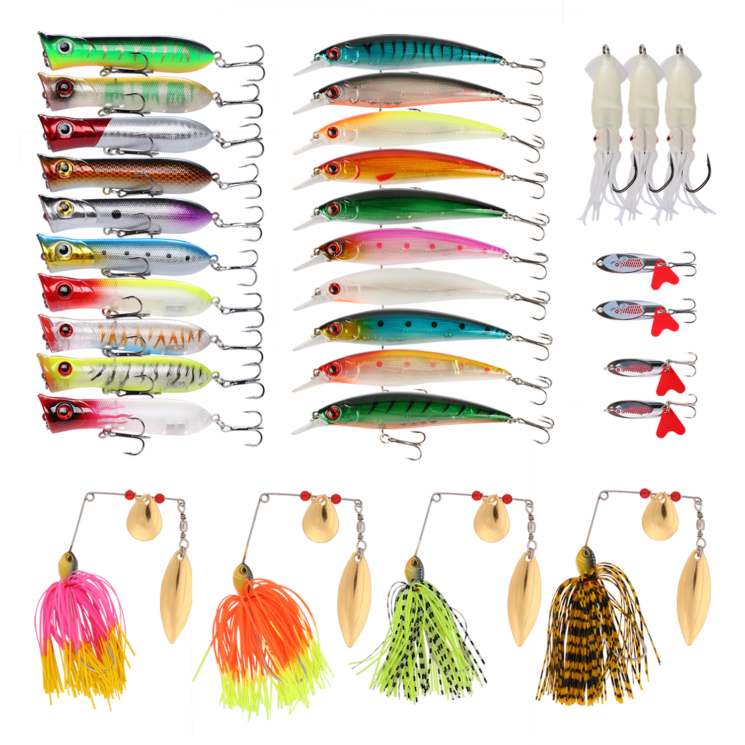 Goture Fishing Lure Set Soft Hard Lure Kit For Bass Spinnerbait Minnow Popper Squid Frog Crankbait Spoon Included by Goture