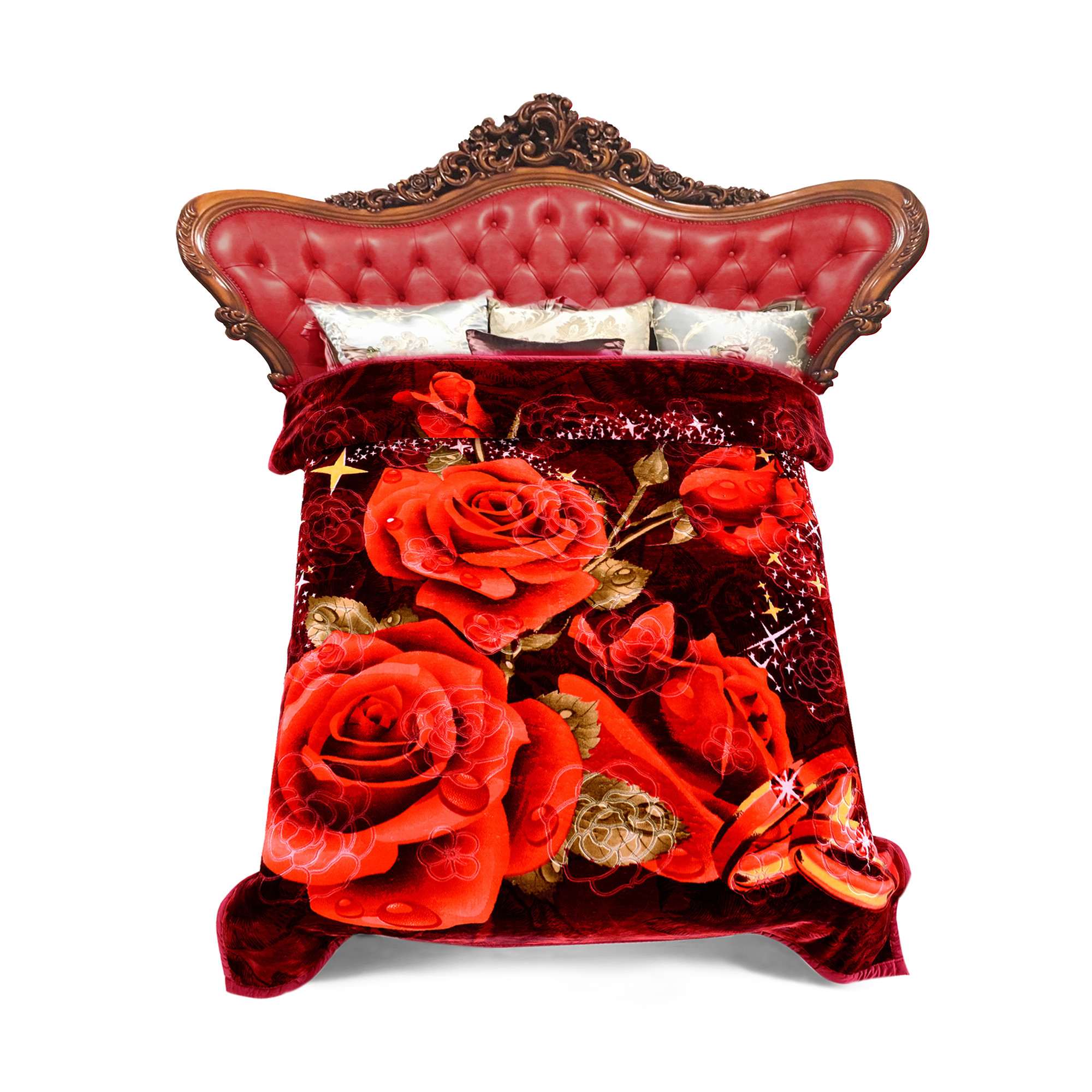 """Home Bedding Roses Pretty Printing & Embossed Double Ply Super Warm Soft Crystal Velvet 9 lb Heavy Thick Plush Mink Blanket For King Size Bed 85""""x95"""", Brown"""