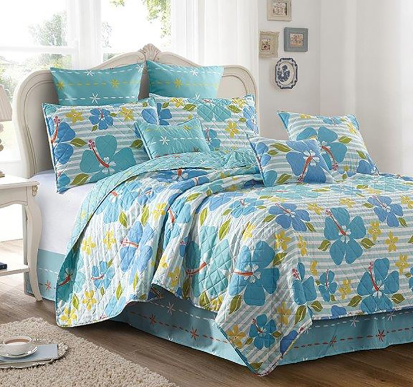 Alana Tropical Flower Debra Valencia Printed 3 Piece Quilt and Sham Set