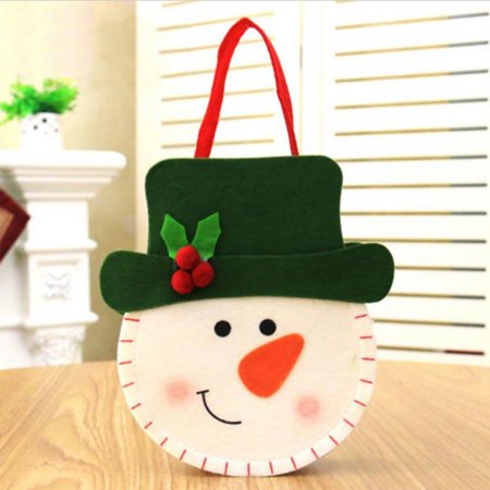 Holiday Clearance 3D Christmas Felt Cloth Sweets Bag Handbags Santa Claus/Snowman/Deer Sweets Gift Bags Xmas Decor](Christmas Bags For Sweets)