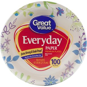 "Great Value Everyday Premium Paper Plates, 8 5|8"", 100 Count"