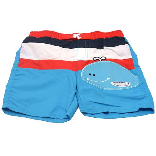Sol Swim Little Boys Blue White Red Stripe Whale Applique Swimwear Trunks 2-4T