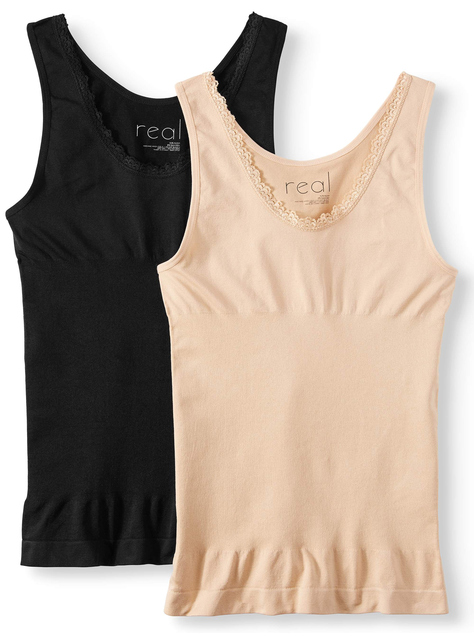 Women's and Women's Plus Luna 2 Pack Seamless Shaping Tank with Lace Trim