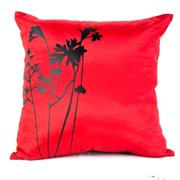 DecorFreak Silk Red & Black Printed Throw Pillow Cover