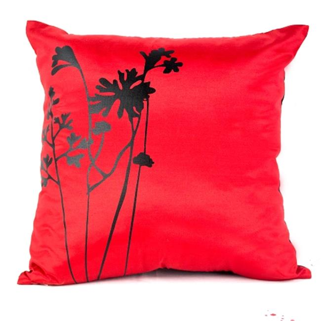 DecorFreak Silk Red & Black Printed Throw Pillow Cover