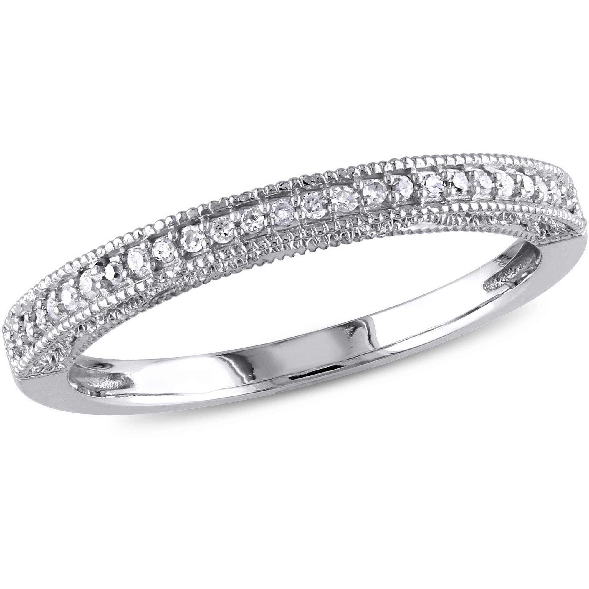 Miabella 1/10 Carat T.W. Diamond 10kt White Gold Wedding Band