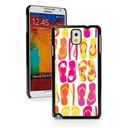 Samsung Galaxy Note 4 Hard Back Case Cover Colorful Flip Flops Pattern (Black)