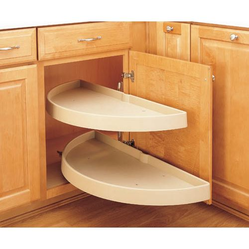 "Rev-A-Shelf 6842-33-570 RAS Polymer 33"" Diameter Half Moon Shaped Pivoting Two Shelf Lazy Susan Set - Slides Not Included"