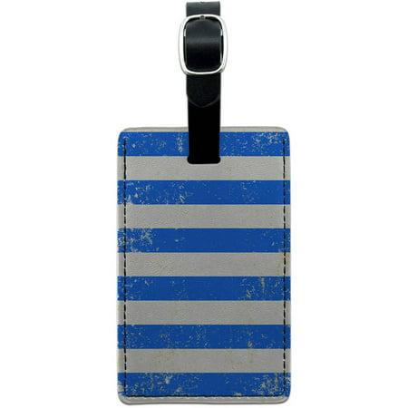Vintage Nautical Stripes Blue Leather Luggage ID Tag Suitcase - Striped Tag