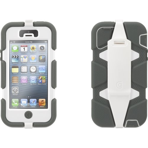 Griffin Grey/White Heavy Duty Survivor Case for iPhone 5/5s, iPhone SE, Military-Duty Case w/ Belt Clip for iPhone 5s
