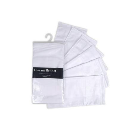 Men's White Plain Soft Finish 6 PCS Pocket Square (Plain Pocket Square)
