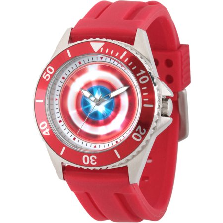Avengers: 75th Anniversary Shields MenHonor Stainless Steel Watch, Red Bezel, Red Rubber - Bezel Rubber Strap Watch