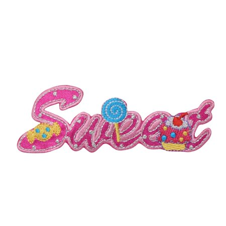 Sweet Word - Pink - Candy - Iron on Applique/Embroidered Patch