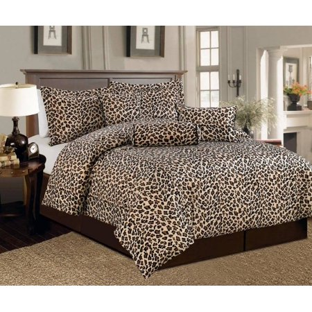 - Legacy Decor 5 Pc Brown and Beige Leopard Print Faux Fur, Twin Size Comforter Bedding Set