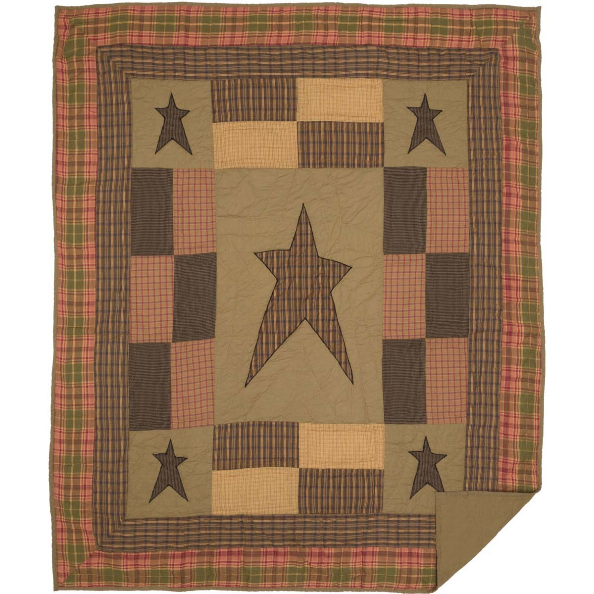 Dark Khaki Tan Primitive Decor Sutton Rod Pocket Cotton Pre-Washed Appliqued Star Throw
