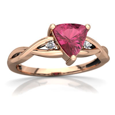 Pink Tourmaline Twist Ring in 14K Rose Gold by