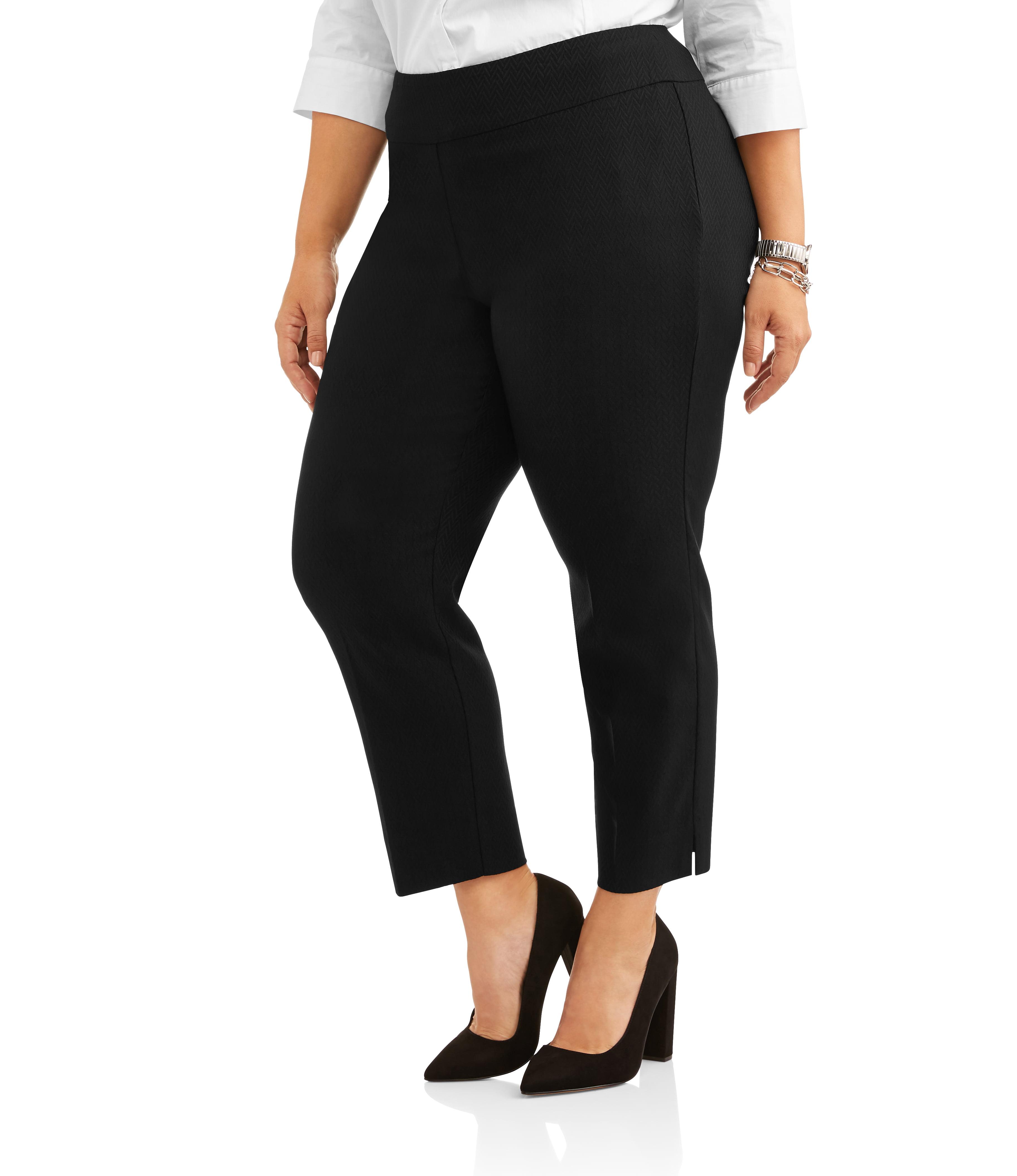 Lifestyle Attitudes Women's Plus Ankle Length Jacquard Stretch Career Pants