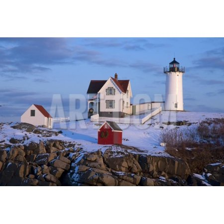 Snow Covered Lighthouse during Holiday Season in Maine. Print Wall Art By Allan Wood