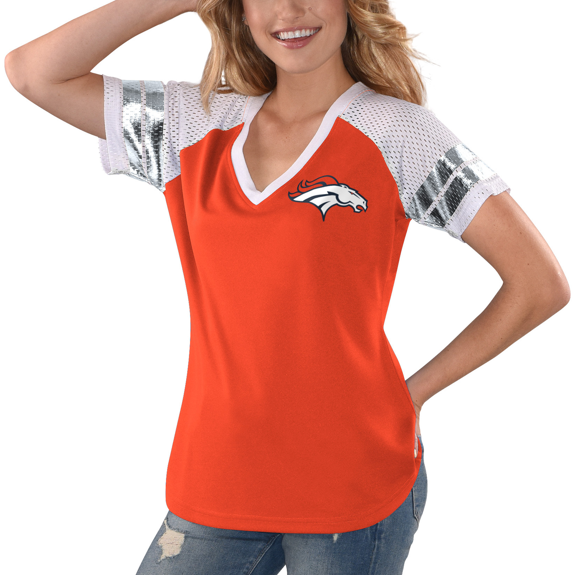 Denver Broncos G-III 4Her by Carl Banks Women's All Star V-Neck T-Shirt - Orange/White