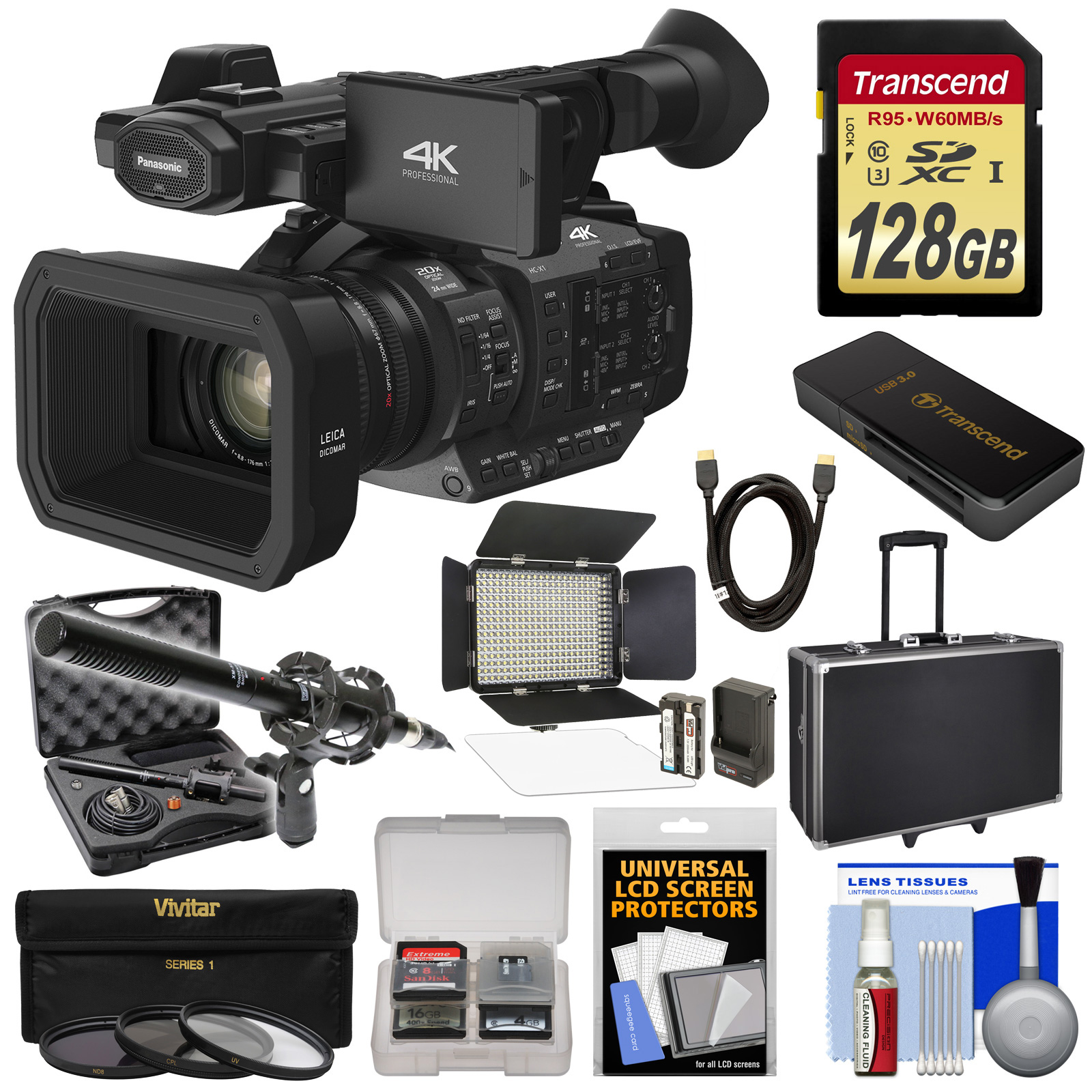 Panasonic HC-X1 4K Ultra HD Video Camera Camcorder with 128GB Card + LED Video Light + Microphone + Hard Case... by Panasonic