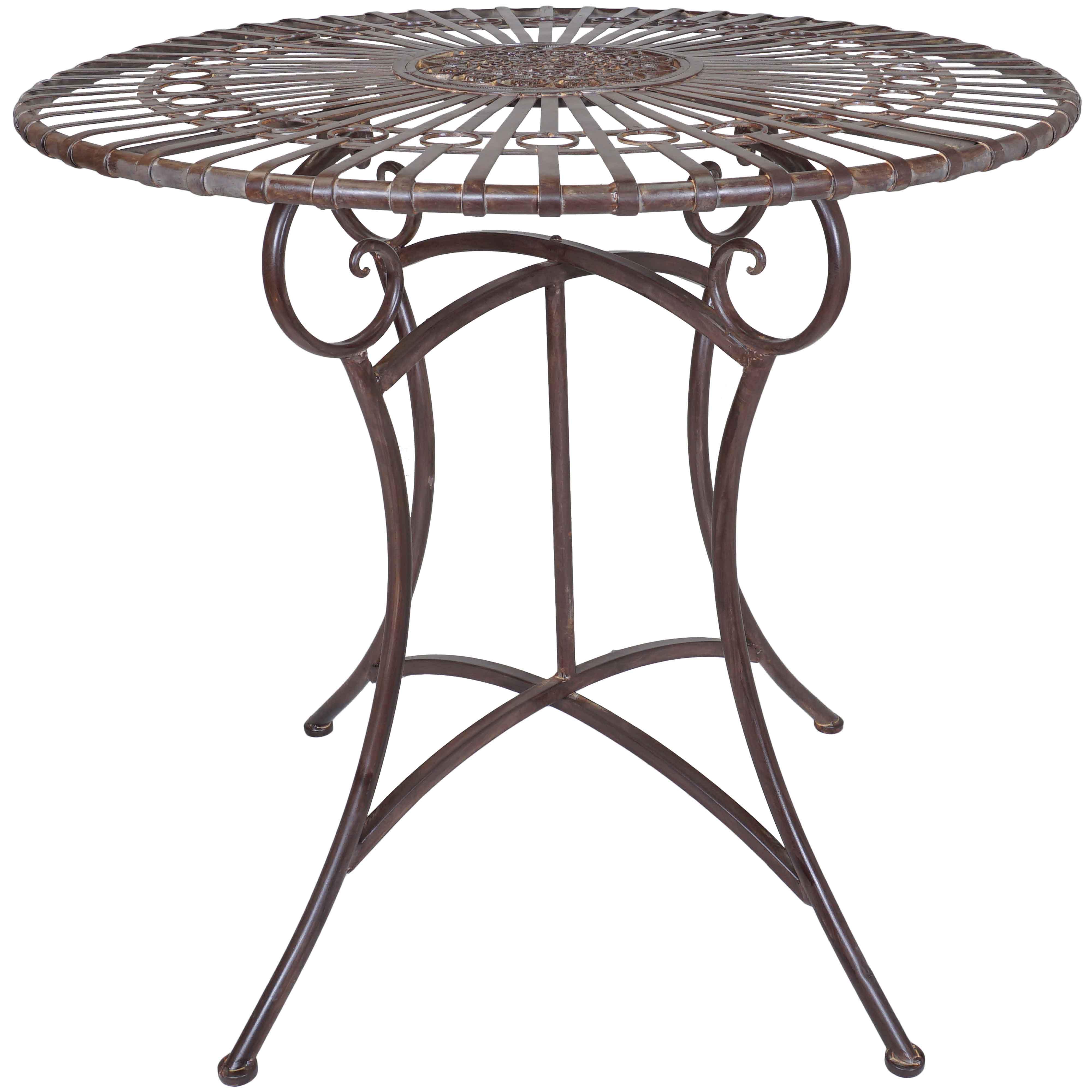 Titan Outdoor Rustic Antique Round Table Porch Patio Garden Deck Decor Rustic