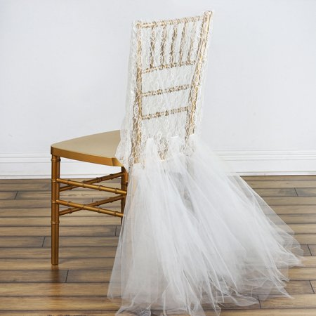 Bridal Wedding Party Lace And Tulle Tutu Chair Covers, Ivory](Black Tutu Party City)