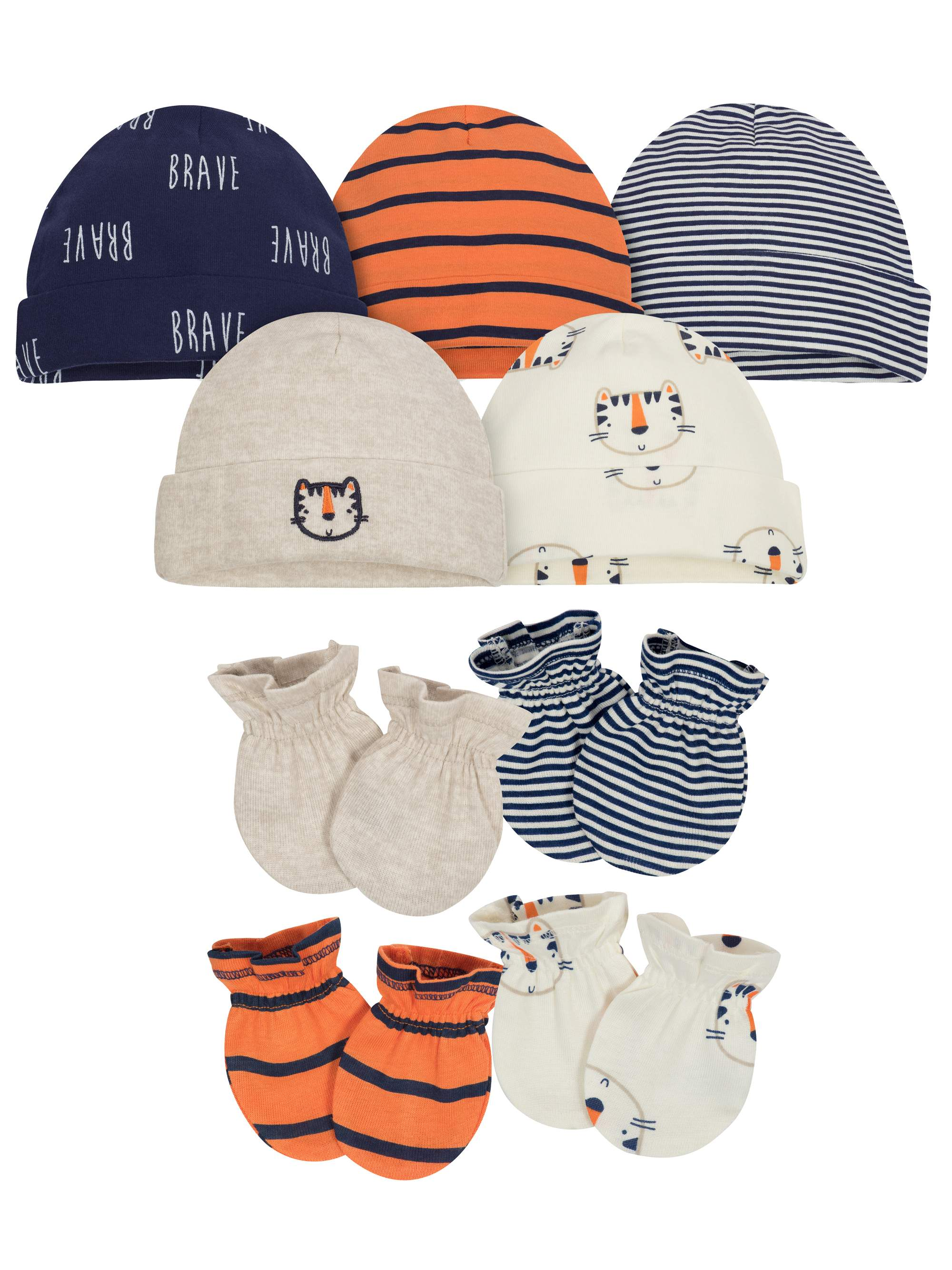 Assorted Caps and Mittens Accessories Bundle, 9pc Set (Baby Boy)