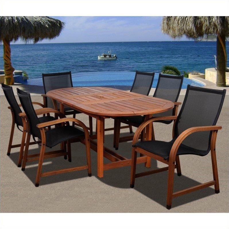 Bahamas 7-Piece Eucalyptus Extendable Oval Patio Dining Room Set by INTERNATIONAL HOME