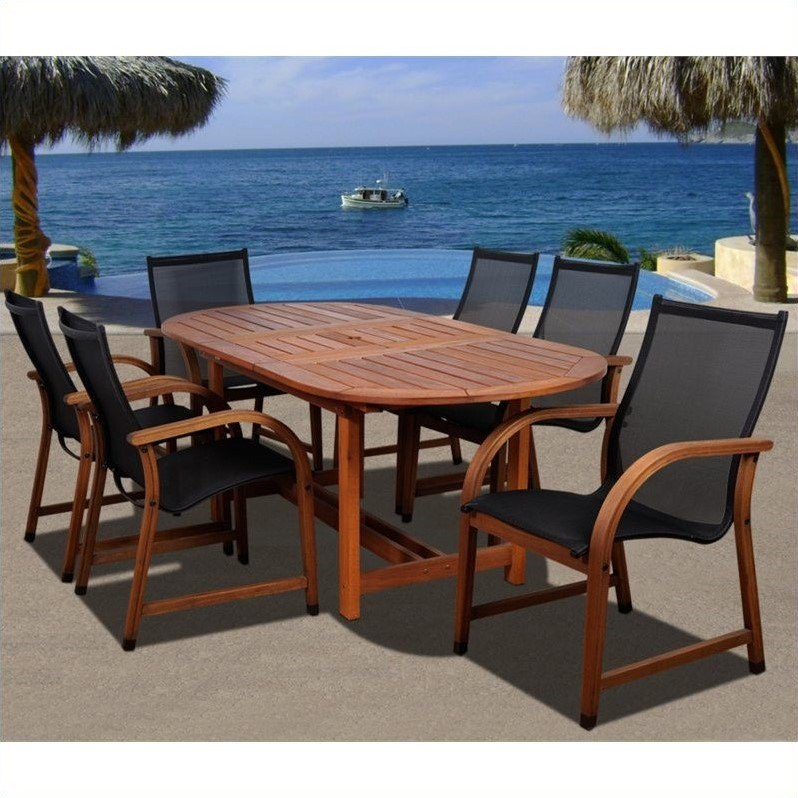 Bahamas 7-Piece Eucalyptus Extendable Oval Patio Dining Set