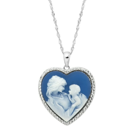 Luminesse Mother & Child Blue Inscribed Heart Cameo Pendant Necklace with Swarovski Crystals in Sterling Silver
