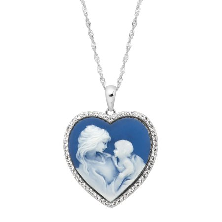 Luminesse Mother & Child Blue Inscribed Heart Cameo Pendant Necklace with Swarovski Crystals in Sterling Silver Cameo Italian Pin Pendant