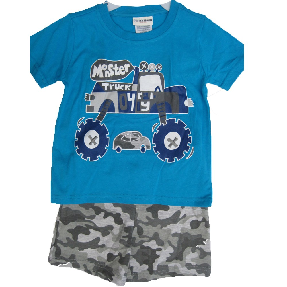 Buster Brown Little Boys Blue Gray Monster Truck Print Camo 2 Pc Shorts Set 2T-4T