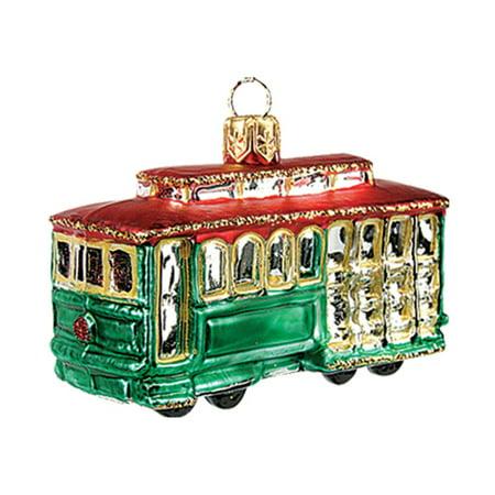 San Francisco Cable Car Polish Glass Mini Christmas Ornament  - Car Christmas Decorations