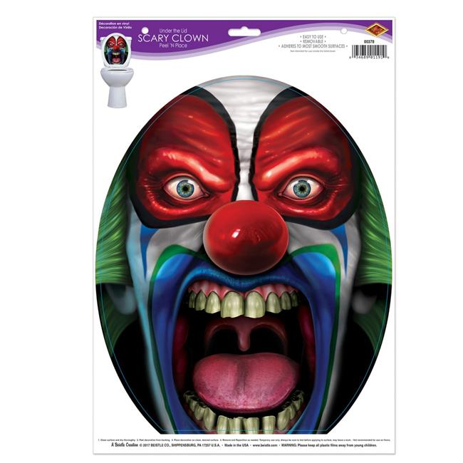 Beistle 378 Under the Lid Scary Clown Peel N Place, 12 x17 in. Sheet - Pack of 12 - image 1 de 1