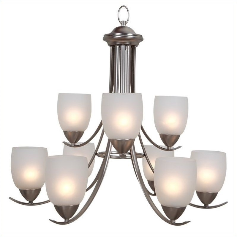Yosemite Home Decor Mirror Lake 9 Lights Chandelier in Brushed Nickel - image 1 of 1