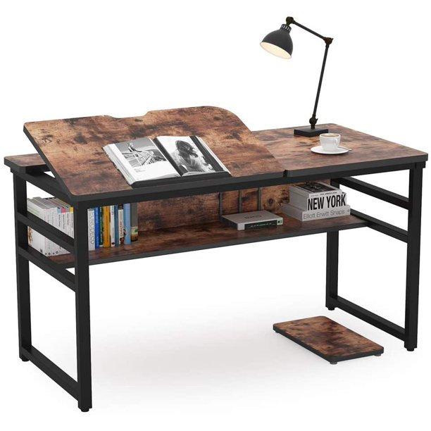 Tribesigns Drafting Table Drawing Desk, Art Desk With Storage
