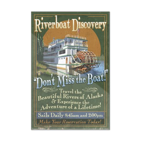 Fairbanks, Alaska - Riverboat Discovery Vintage Sign - Lantern Press Artwork (16x24 Acrylic Wall Art Gallery Quality)