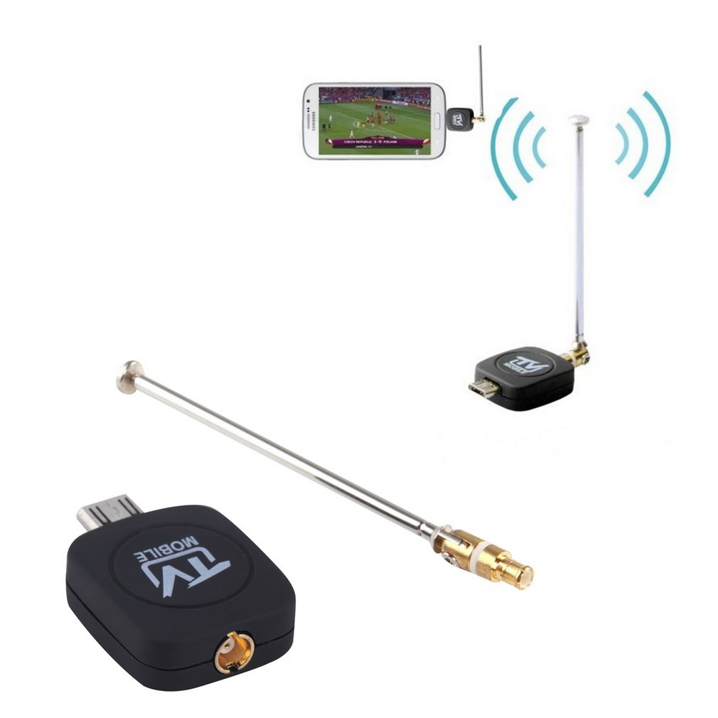 Portable Size DVB-T Micro USB Tuner Mobile TV Receiver Stick For Android Tablet Pad Phone Digital Satellite Dongle Black