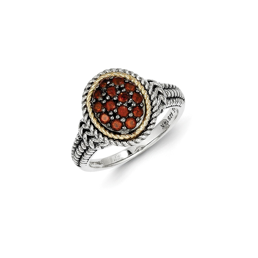 14K Yellow Gold with Garnet Ring Size-6 by