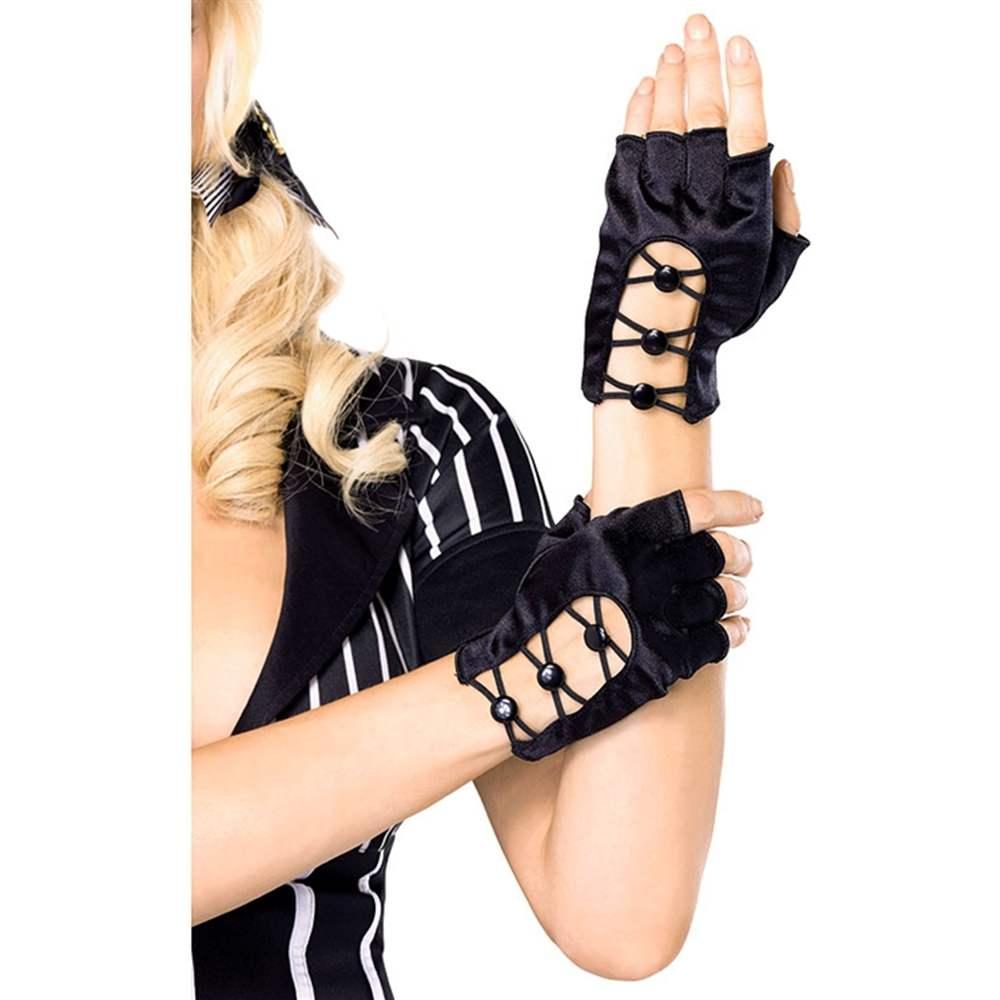 Sexy Black Criss-Cross Fingerless Gloves