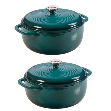 Lodge Ec6d38 6 Quart Enameled Cast Iron Covered Round Dutch Oven W Lid 2 Pack