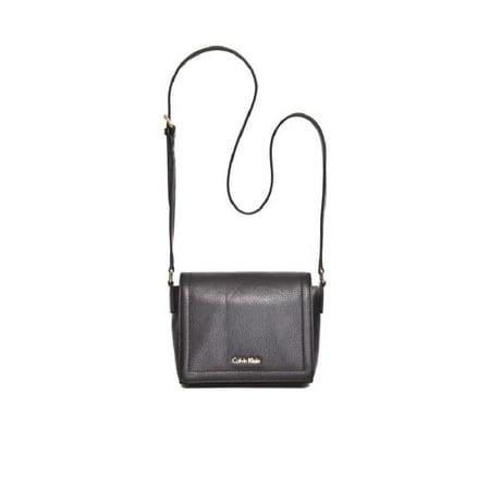 Calvin Klein  Key Items Classic Pebble Black/Gold Faux Leather Crossbody Handbag - Black Gold Pebbled Leather