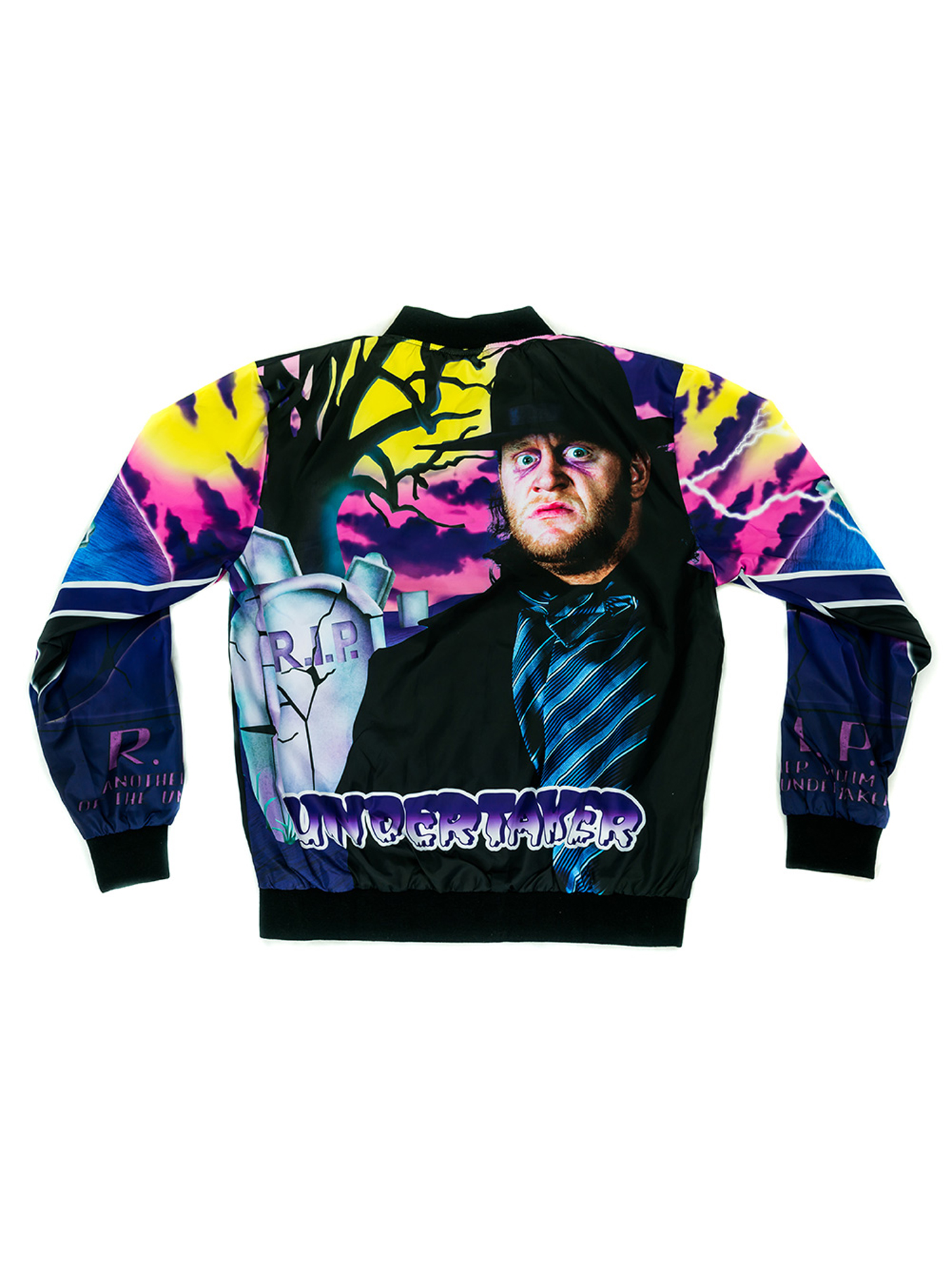 Official WWE Authentic Undertaker Vintage Fanimation Jacket Black Purple by