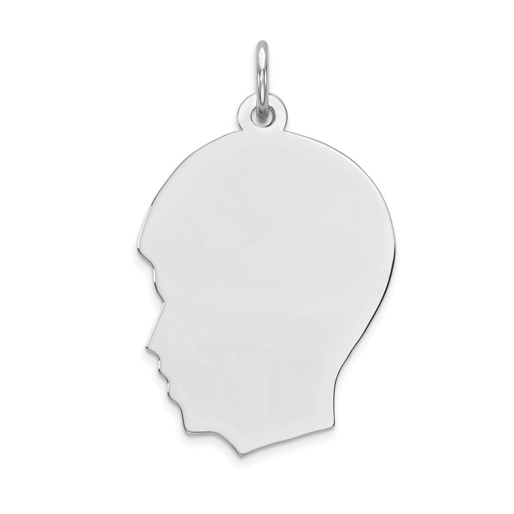 14k White Gold Plain Medium Facing Left Engravable Boy Charm Pendant